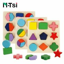 Geometric Shapes Puzzle Wooden Math Learning Educational Game Toys Children