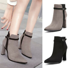 Ladies Faux Suede Zip Ankle Boots Women Pointed Toe Block High Heel Office Shoes