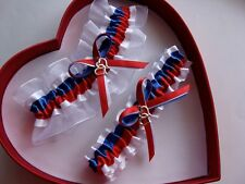 New Red White Blue Wedding Garter *30* CHARMS TO SELECT