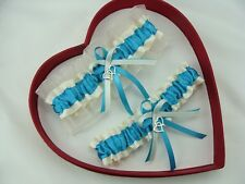 New Sexy Turquoise Ivory Wedding Garter Heart Prom