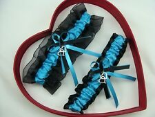 New Sexy Turquoise Black Wedding Garter Heart Prom*