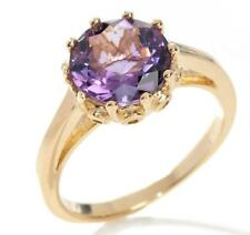 Technibond Real Amethyst Royal Crown Set Ring 14K Yellow Gold Clad Silver HSN