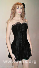 BURLESQUE MOULIN ROUGE CORSET Dress clubwear satin & lace Sizes S to XXL