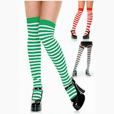 Thigh High Striped Opaque Stockings Black, Red or Green HALLOWEEN Costume Witch