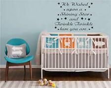 WE WISHED UPON A SHINING STAR NURSERY WALL ART WALL QUOTE DECAL STICKER