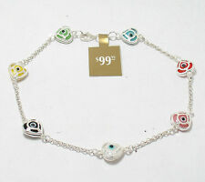 Multi Color Heart Evil Eye Ankle Bracelet Anklet REAL 925 Sterling Silver