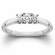 1/4CT 3 STONE DIAMOND ENGAGEMENT ANNIVERSARY RING 14K WHITE GOLD ROUND BRILLIANT