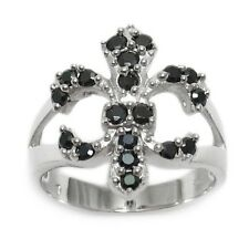Sterling Silver Fleur De Lis .57 Carat High Quality Black CZ Ring Size 6-10