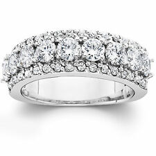 2.10Ct Real Diamond Anniversary Wedding Ring 14K White Gold 6.8MM (Not Enhanced)