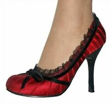 RED/BLACK PLEATED SATIN HIGH HEELS BALMORAL DESIGNER/CELEBRITY WOMENS SHOES