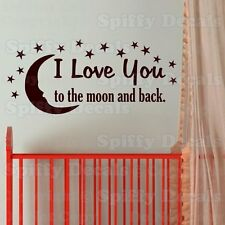 I LOVE YOU TO THE MOON AND BACK 15 STARS Quote Vinyl Wall Decal Decor Sticker