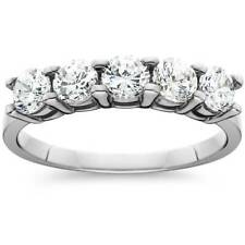1.00CT Five Stone Genuine Round Diamond Wedding Anniversary Ring 14K White Gold