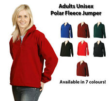 New Adult Unisex Winter Polar Fleece Half Zip Jumper Windcheater Pullover