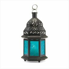 "Moroccan Lanterns, Amber 4 1/8"" x 3 5/8"" x 10 1/4"" high, Blue 5 3/4"" x 5"" x 10"