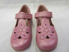Girls Startrite T Bar Shoes In Bright Pink Leather 'April' E Fitting