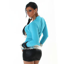 NEW SEXY BOLERO STYLE WRAP LOOK SWEATER JUMPER TURQUOISE BLUE 8 10 12 PARTY/CLUB