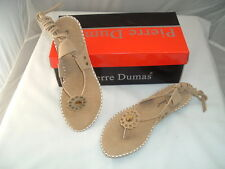 "Woman's Camel Sandals, 21"" Laces around Ankle, 1/2in heels, Dumas ""Christina"""