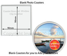 Blank Photo Coasters (Packs 1, 5, 10) (Square Round) Clear