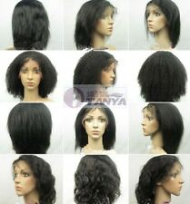 "10"" Full /Front French Lace Wig Indian Remi Hair  5 Colors 6 Styles Options"
