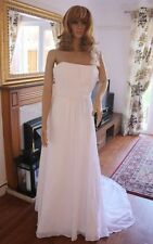 CLEARANCE IVORY Princess Chiffon One Shoulder Floor Length Wedding Dress Size 10