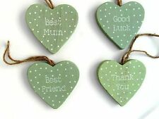NEW GREEN & WHITE DOTS HEART PLAQUE DECORATION GIFT TAGS