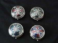 SUPERB CELTIC TRINITY CROSS AND TRISKELES ENAMEL PILL BOX BY SEA GEMS - BOXED
