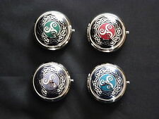 SUPERB CELTIC TRISKELS AND CELTIC KNOT RING ENAMEL PILL BOX BY SEA GEMS - BOXED