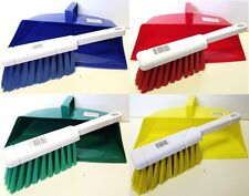 Colour Coded Dustpan and Brush Hygiene Hooded Dust Pan Blue Red Yellow Green NEW