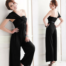 Womens Asymmetric One Shoulder Twisted Jumpsuit Rompers Pants Wide-leg Trousers