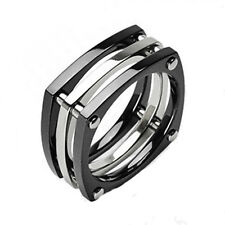 Ti Titanium Unique Sectioned Black 2-Tone Band Ring Size 9-14
