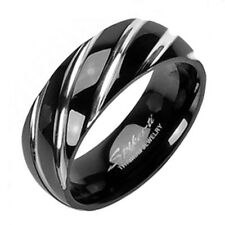 Ti Titanium Modern Swirled Black Ion Plated Wedding Band Ring Size 5-14