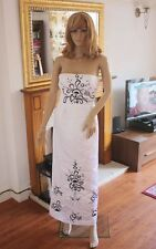 CLEARANCE White Satin Sleeveless Chapel Length Train Wedding Dress UK Size 8 D35