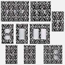 Black & White Damask Hand Made Light Switch Plates & Outlet Covers