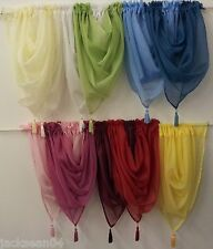 FINEST QUALITY VOILE SWAG SWAGS TASSELED CURTAIN**16 COLOURS**FREE UK DELIVERY**