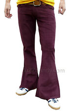 FLARES Red Purple mens bell bottoms Cords hippy vtg indie trousers 60s 70s NEW
