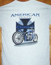 """ AMERICAN ORIGINAL "" Grey T Shirt Sz Sm - 5XL  Chopper & Motorcycle Tee"
