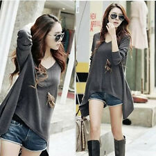 New women's autumn Asymmetric Cut Funky Tee loose casual T-shirt N425