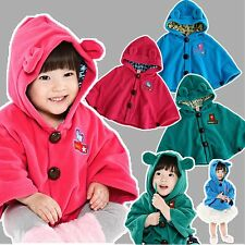 "NWT Newborn Baby Toddler Girl Fleece Hoodie Cape Coat For Winter ""3 Color Cape"""