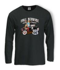 Full Service Route 66 Long Sleeve T-Shirt with Smile Hot rod waitress drive in