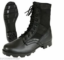 Black Leather Jungle Boots - Army Military Style - Brand New