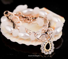 Hot Oval Pearl Rhinestones Crystal Drop Charms Link Chain Bracelet