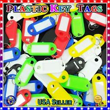 Plastic Key  ID Labels  Tags  with Name Cards  Split Ring Assorted Color New