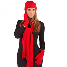 LADIES SUPERSOFT PLAIN HAT, SCARF AND GLOVE SET IN BLACK/WINTER WHITE/RED/PURPLE