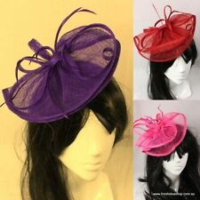 Wedding Races Bridal Party Hair Fascinator/Hat w/ Feathers - S4 - Red Purple