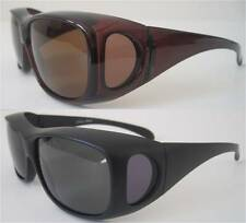 2 Pairs Andevan 100% UV polarized sunglass cover over Rx glass-fit unisex size L