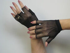 Gloves Fingertipless Wrist Warmers Fishnet One Size Black or Red Music Legs 401