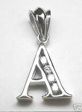 VARIETY RHODIUM-PLATED OVER SOLID STERLING SILVER A-Y INITIAL CLEAR CZ PENDANT