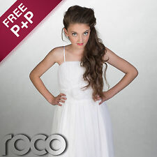 Girls White Wedding Bridesmaid Prom Party Flower Girl Dress 1 - 14 Years