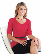 Tri-Mountain Women's Y Collar Short Sleeve Ribbed Knit Winter Sweater. LB921