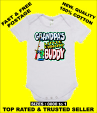 BABY ONE PIECE, ROMPER. ONESIE. printed with GRANDPA'S LITTLE FISHING BUDDY